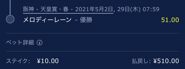 天皇賞・春、メロディーレーン、オッズ51.00倍