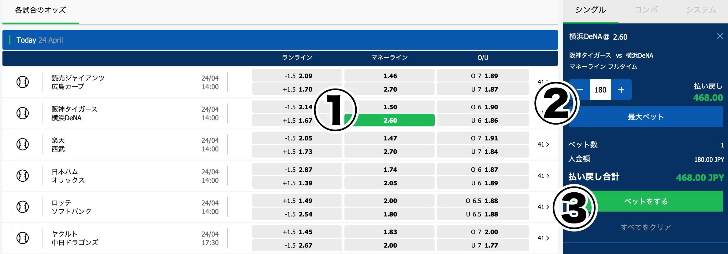 10bet Japanプロ野球やり方賭け方1
